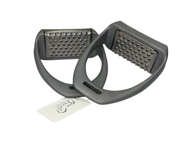 View of light grey Royal Rider stirrups with tread showing.