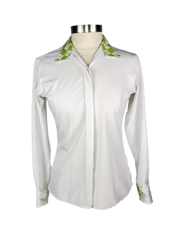 RJ Classics Classic Cool Prestige Show Shirt in White/Green Argyle - Women's 34 | S