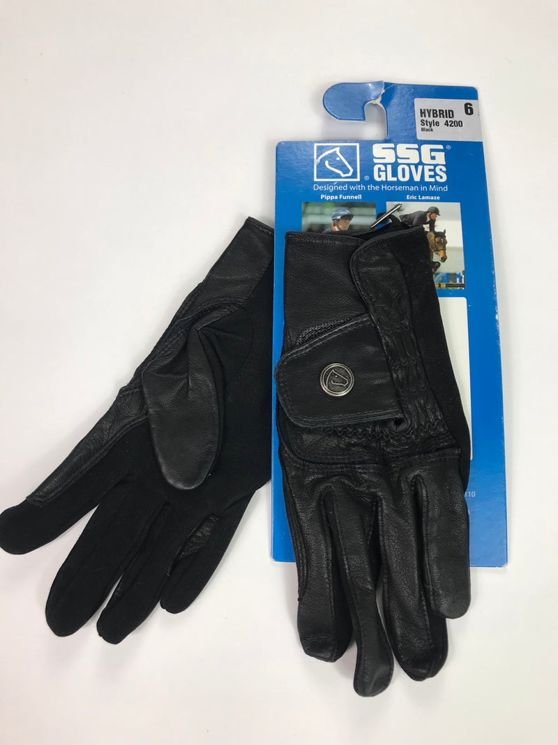 SSG Hybrid Riding Gloves in Black - Size 6