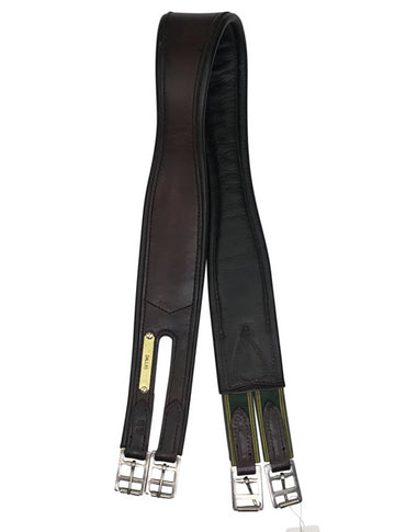 View of dark leather girth with single sided elastic.