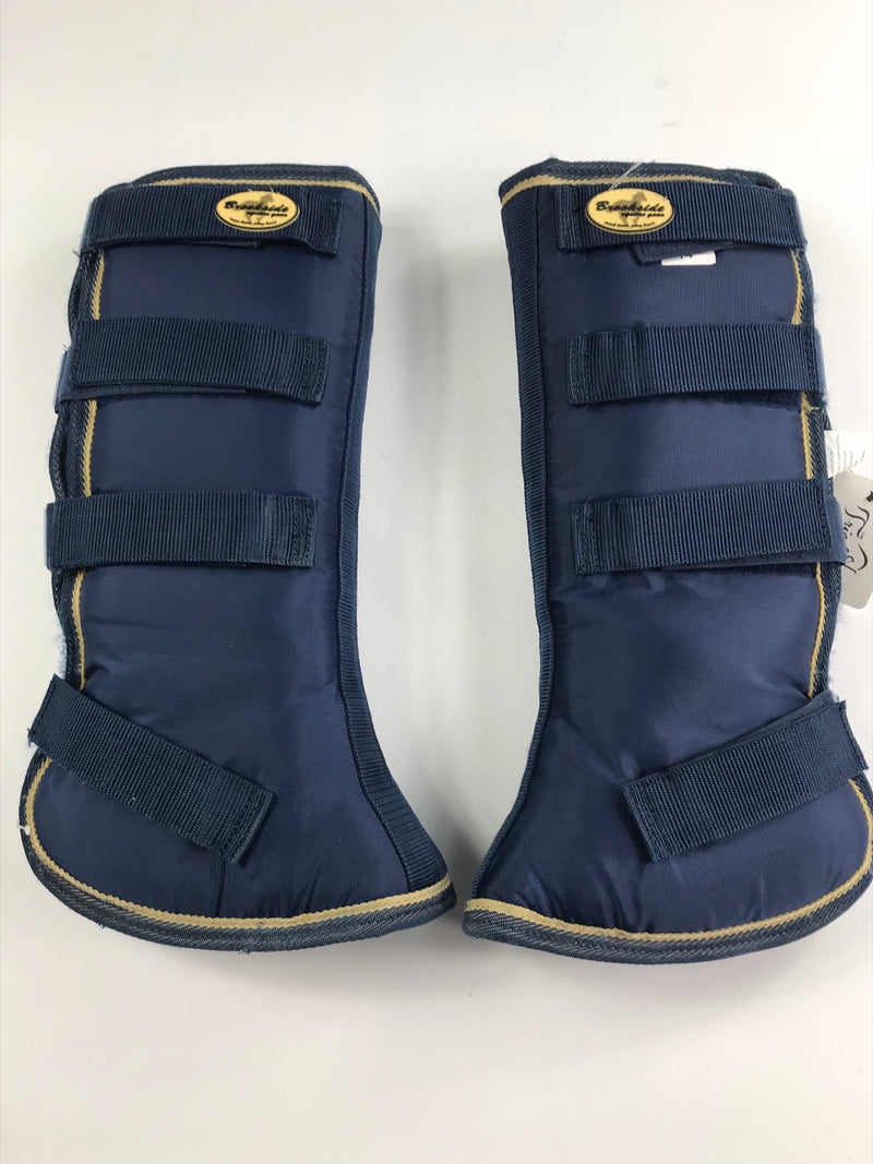 Brookside Flared Horse Shipping Boots in Navy/Tan - 14""