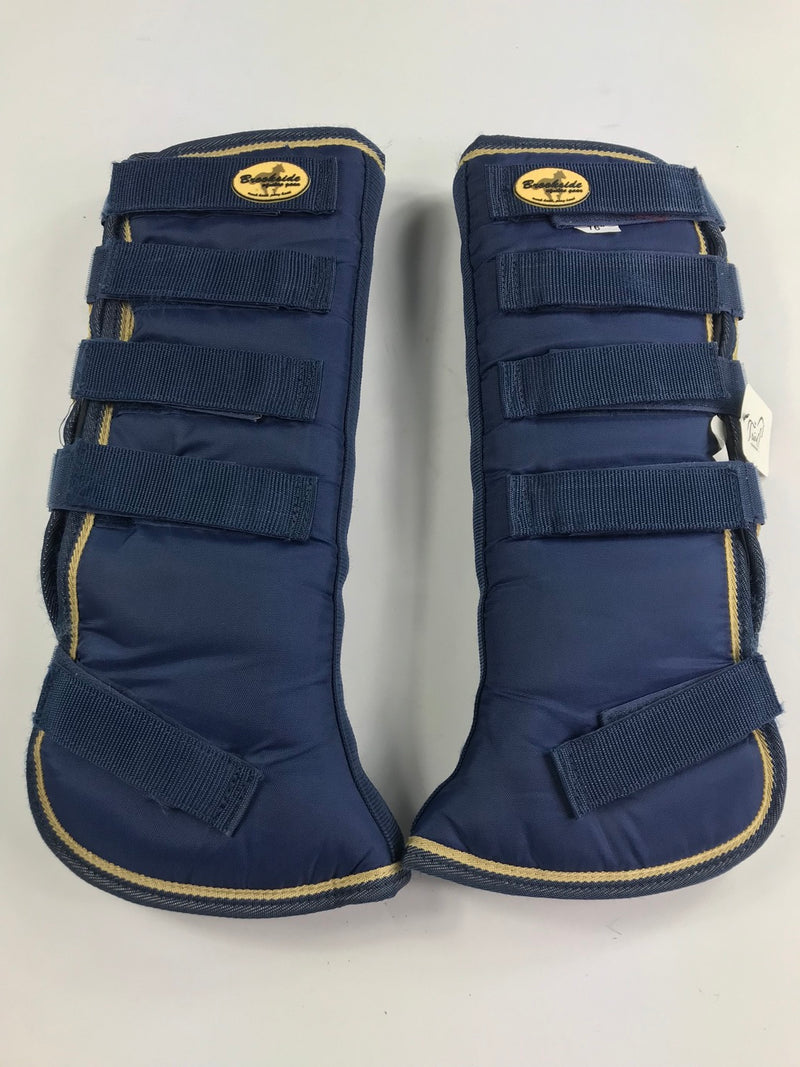 Brookside Flared Horse Shipping Boots in Navy/Tan - 16""
