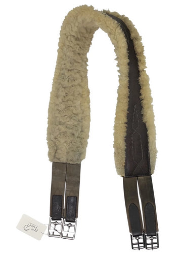 View of CWD sheepskin girth in dark brown