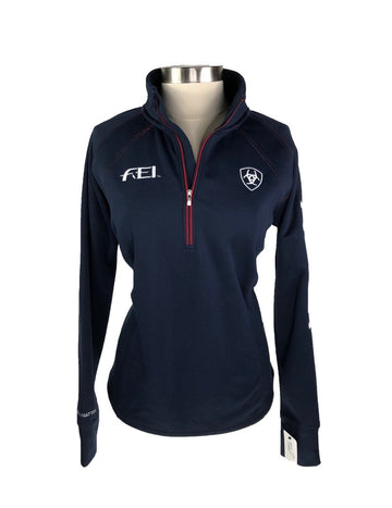 Ariat FEI Tek Team 1/4 Zip Pullover in Navy/Red -Front View