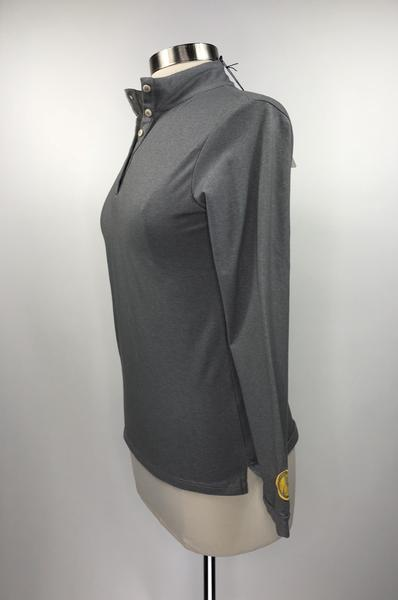 Callidae Long Sleeve Polo in Grey- Left Side View