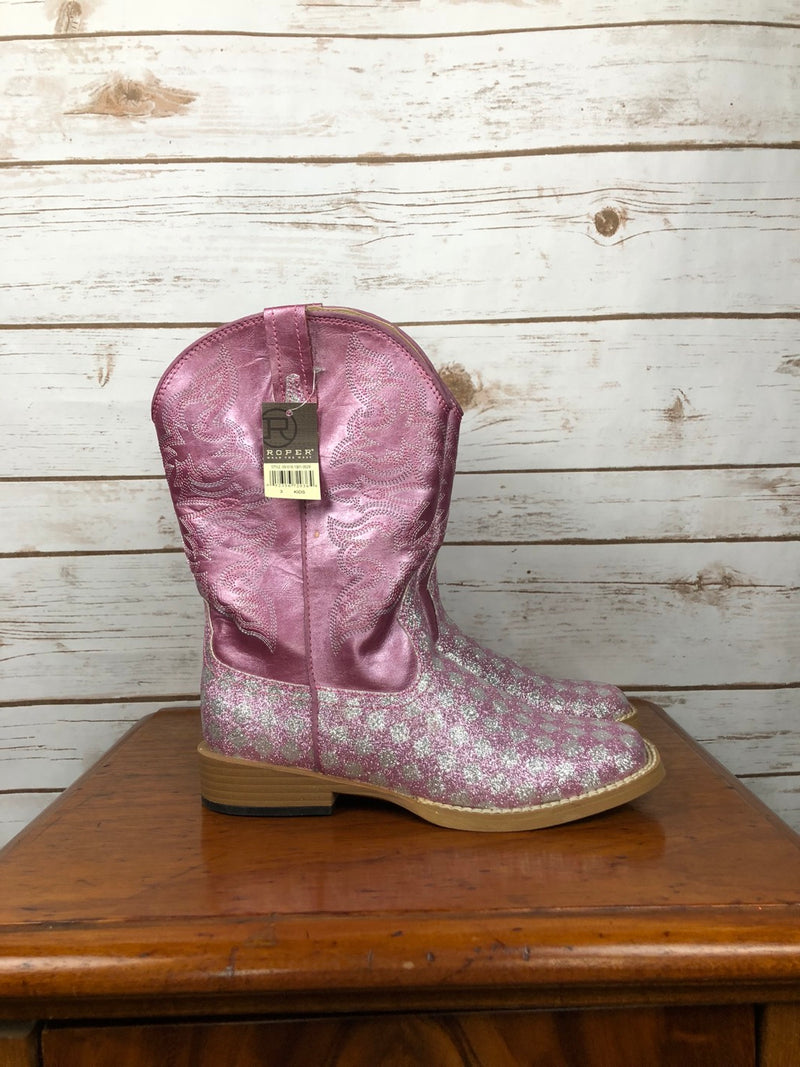 Roper Kids Checkerboard Glitter Boots in Pink - Children's 3