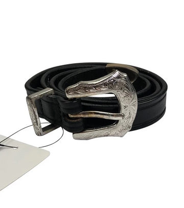 Tory leather black belt with western inspired silver buckle
