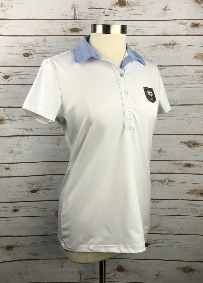 Asmar Equestrian Polo in White w/Blue Collar - Women's Medium