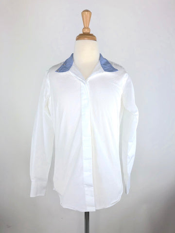 Beacon Hill Coolmax Show Shirt in White/Blue - Front View