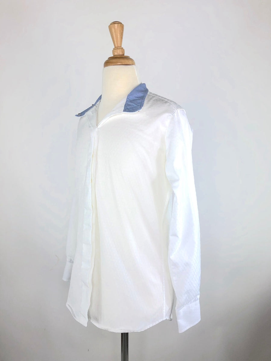 Beacon Hill Coolmax Show Shirt in White/Blue - Left Side View