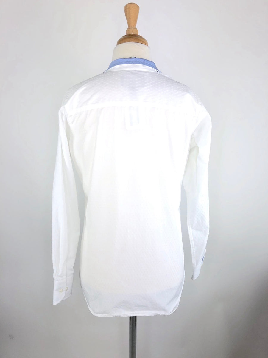 Beacon Hill Coolmax Show Shirt in White/Blue - Back View