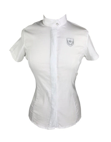 OKKSO Short Sleeve Show Shirt in White - Front View