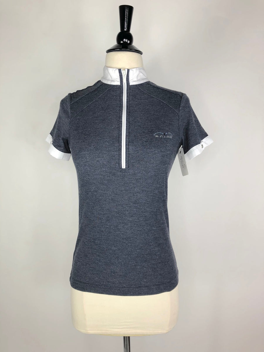 Animo Ribbed Zip Polo in Heather Grey- Front View