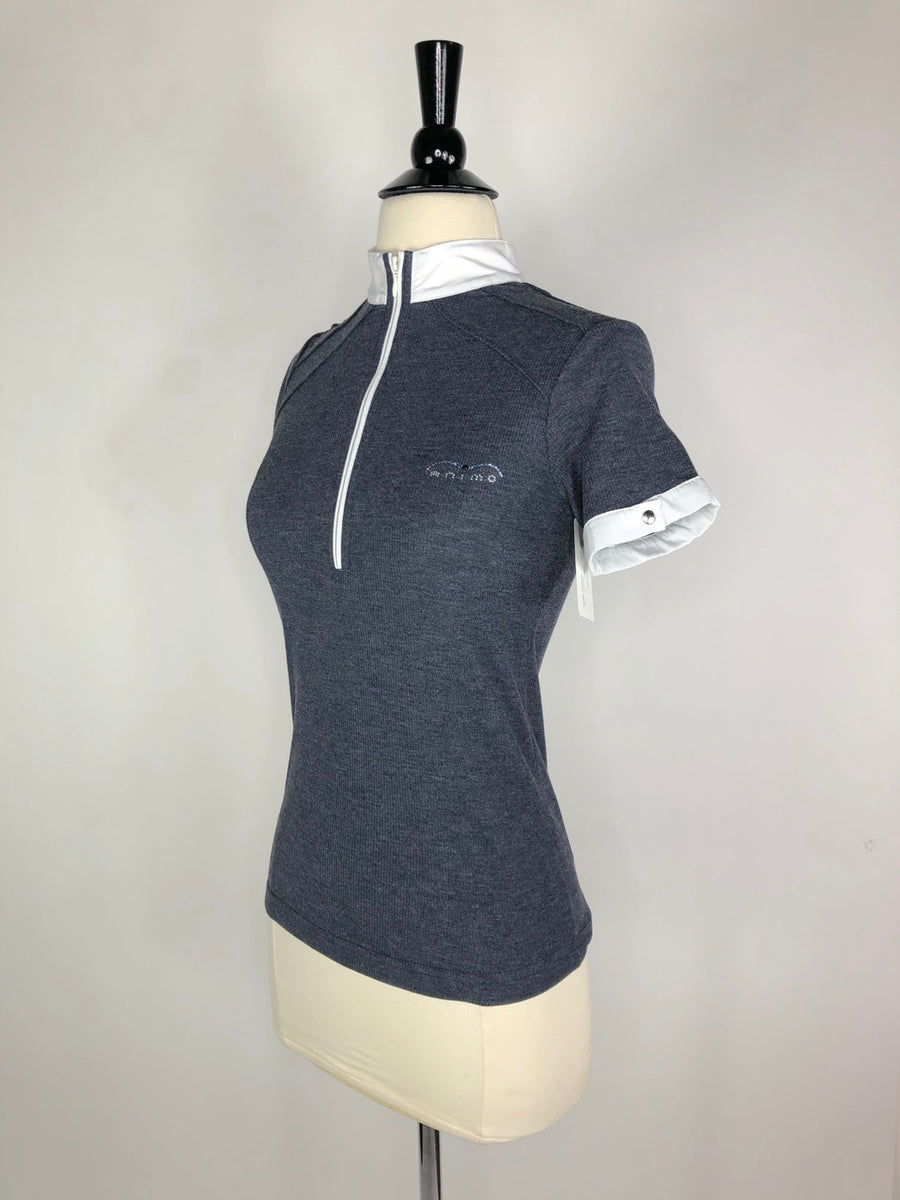 Animo Ribbed Zip Polo in Heather Grey- Left Side View