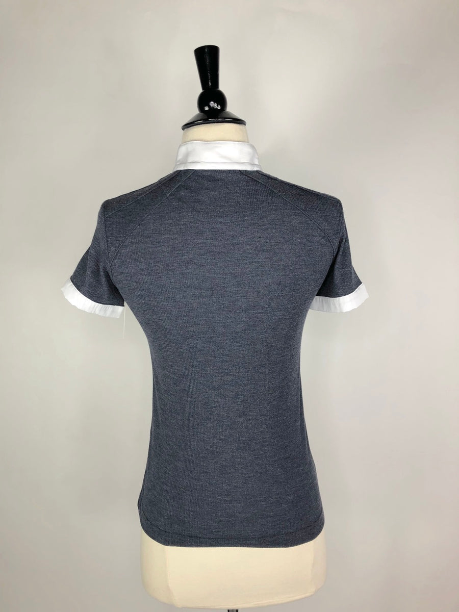 Animo Ribbed Zip Polo in Heather Grey- Back View