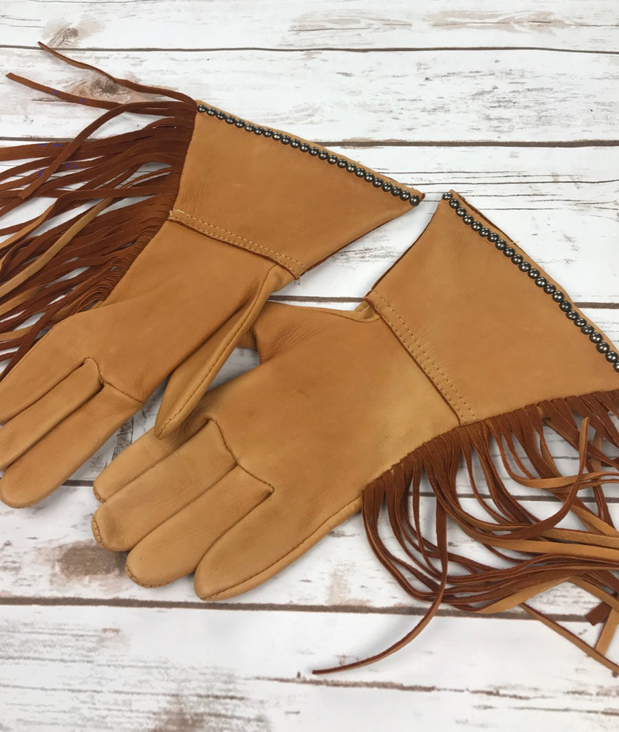 Patricia Wolf Dream Buffalo Gloves in Saddle Tan - Inside View