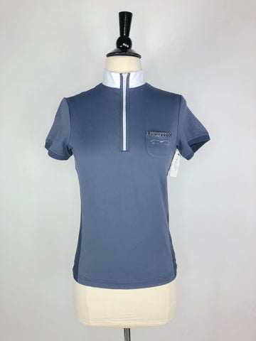 Animo Short Sleeve Zip Polo in Graphite Blue- Front View