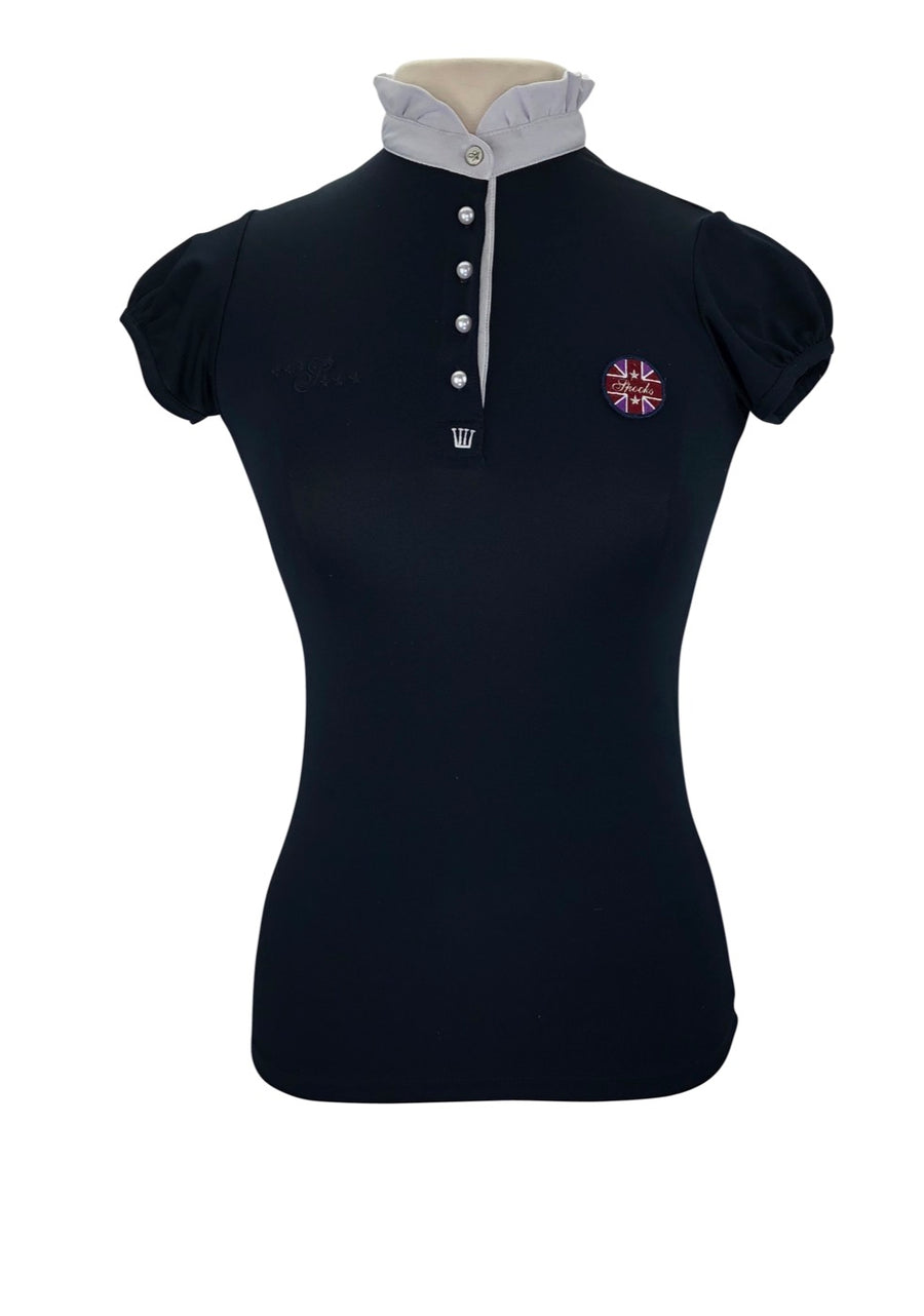 Front View of Spooks navy polo with white collar