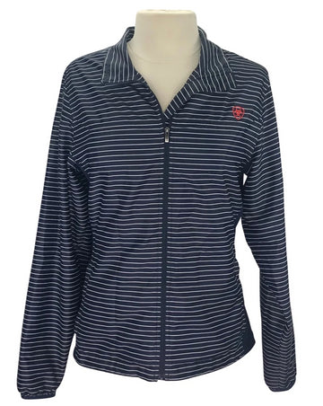 Front view of Ariat windbreaker with full length zipper in navy stripe