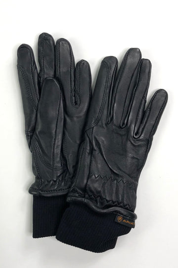 Ariat Insulated Pro Grip Leather Gloves in Black- Front View