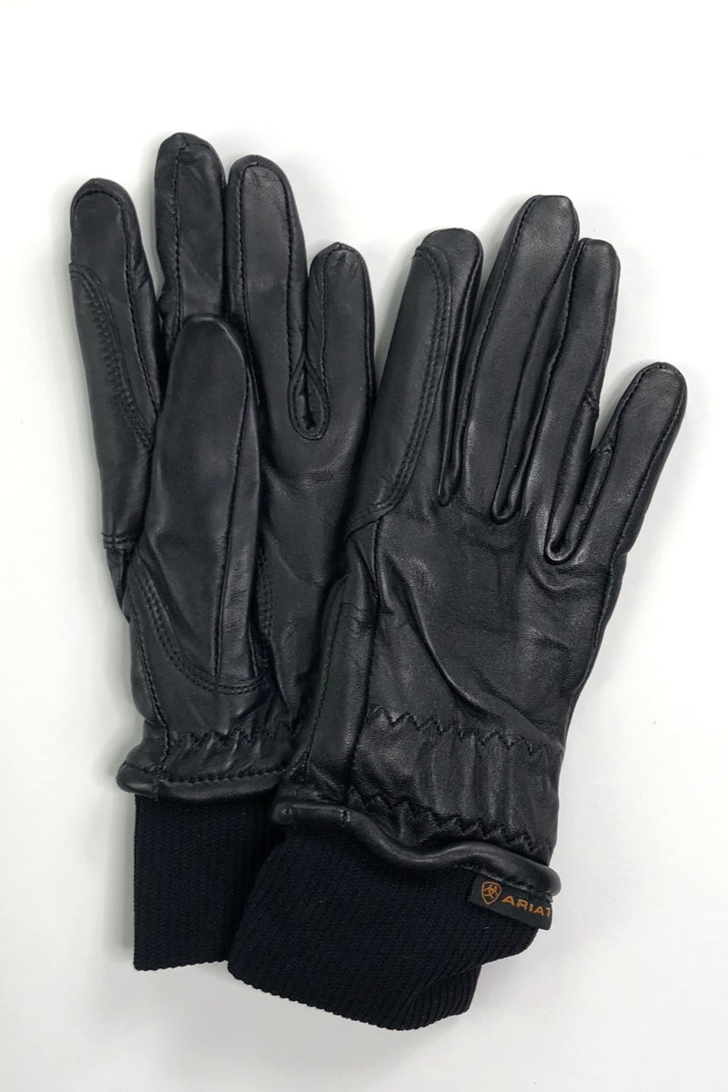 Ariat Insulated Pro Grip Leather Gloves in Black - Size 6.5