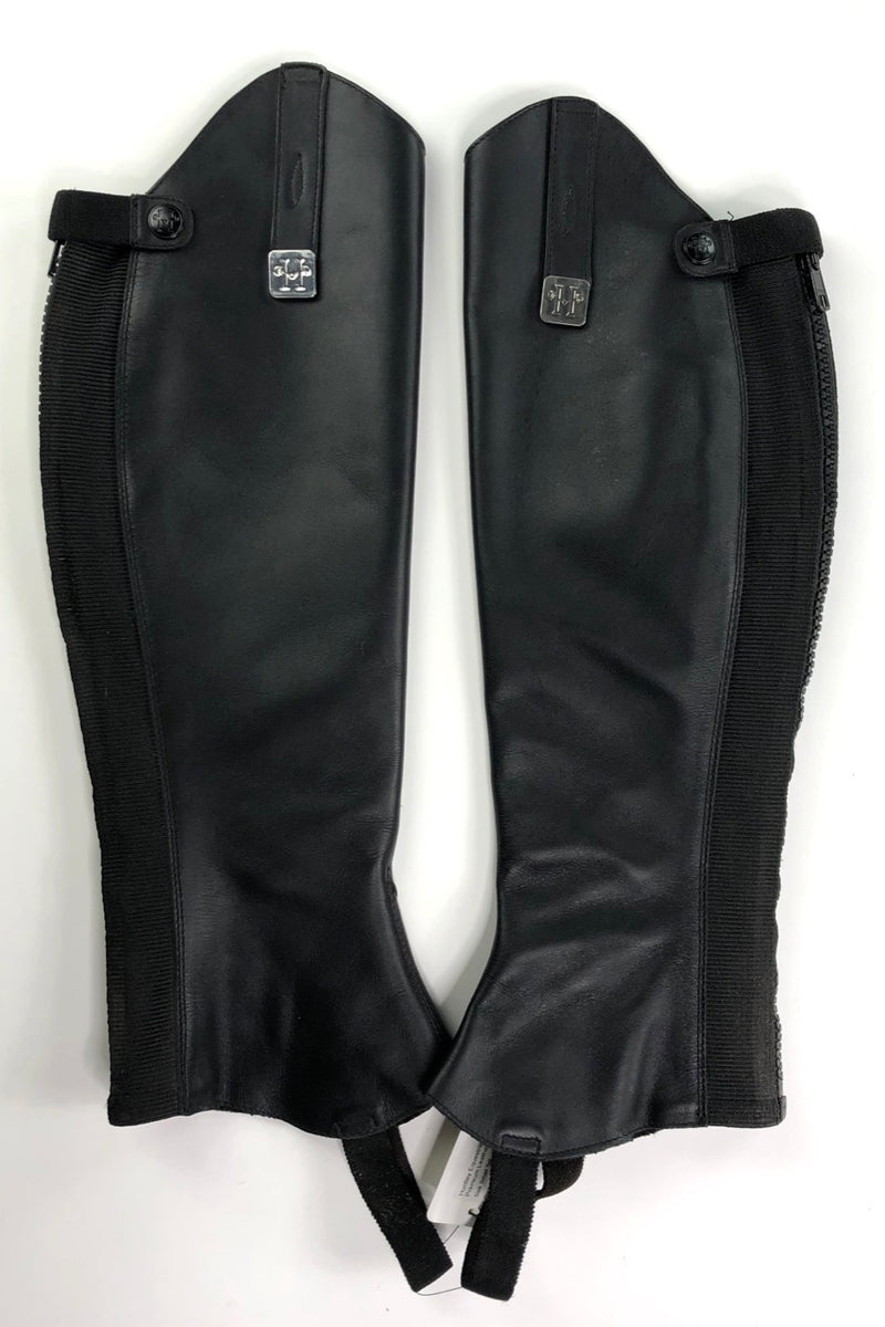 Huntley Equestrian Custom Fit Premium Leather Half Chaps in Black - Size Small Tall