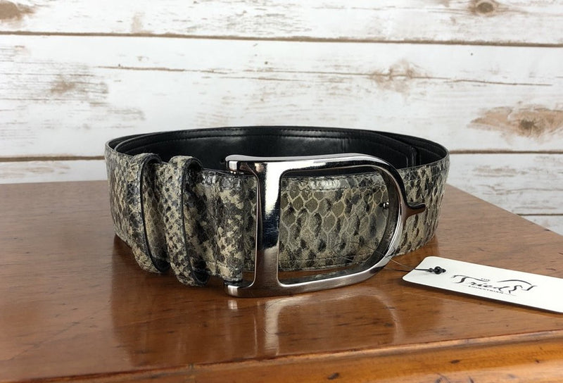 Sandy Duftler Designs Spur Belt in Grey Snakeskin/Gunmetal - 34