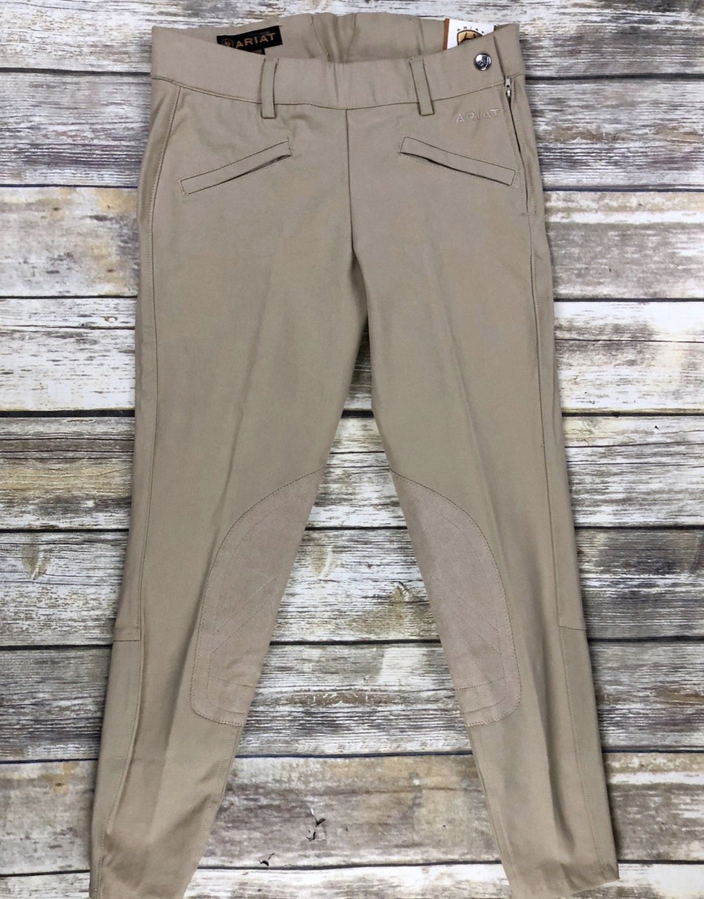 Ariat Performer Side Zip Knee Patch Breeches in Tan - Women's 22R