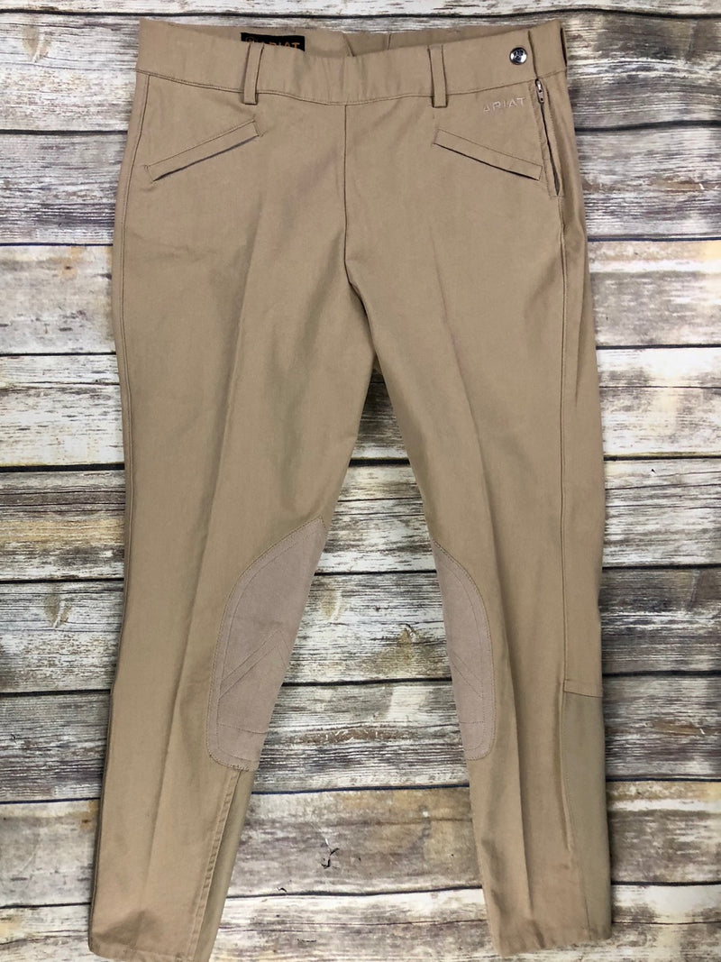 Ariat Performer Side Zip Knee Patch Breeches in Tan - Women's 30L