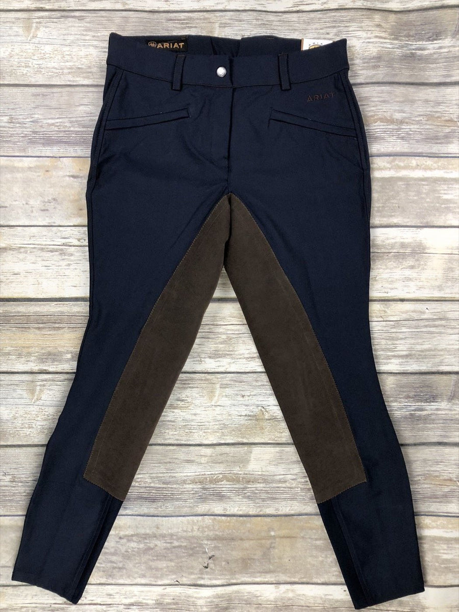 Ariat Performer Full Seat Color Block Breeches in Navy/Brown- Front View