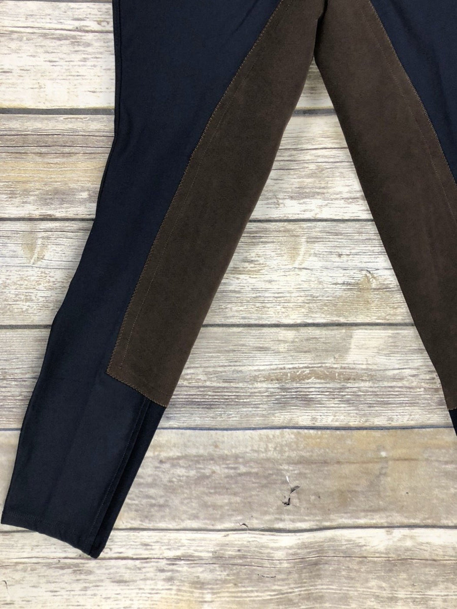 Ariat Performer Full Seat Color Block Breeches in Navy/Brown- Leg View
