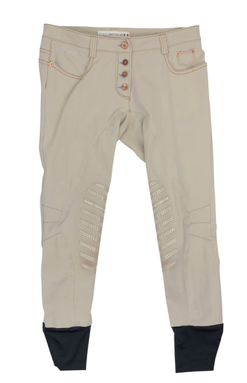Animo tan breeches with copper button closures