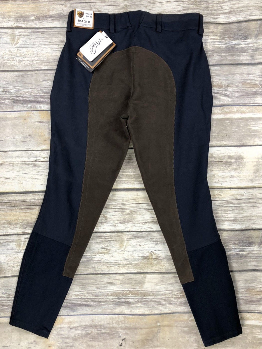 Ariat Performer Full Seat Color Block Breeches in Navy/Brown- Back View