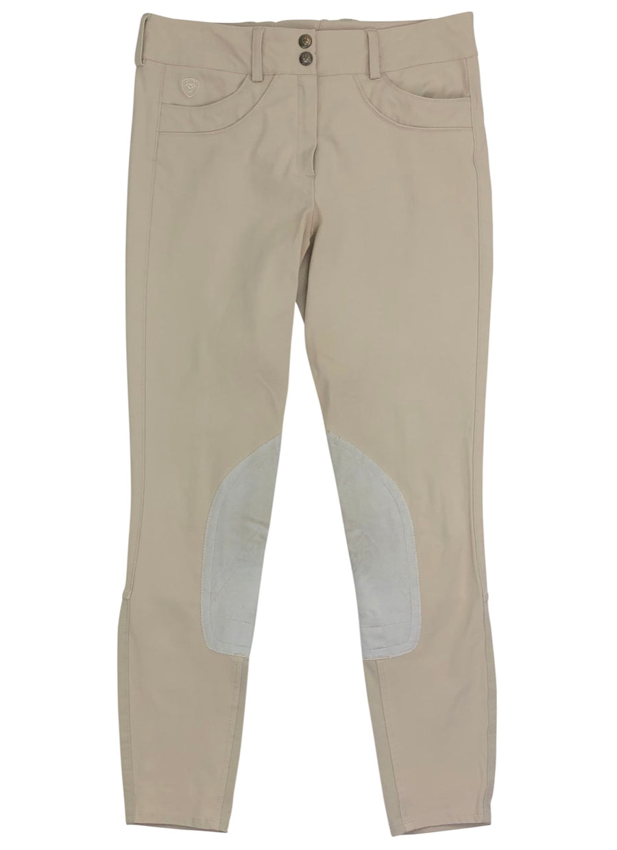 Front View of Ariat Olympia Knee Patch Breeches in Tan