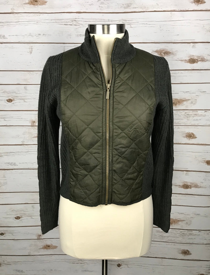 Barbour Sporting Zip Quilted Jacket in Olive - Women's 10