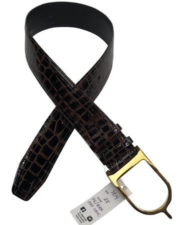 Sandy Duftler patent chocolate crocodile belt