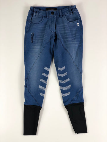 Aztec Diamond Denim Breeches in Blue Stone Wash- Front View