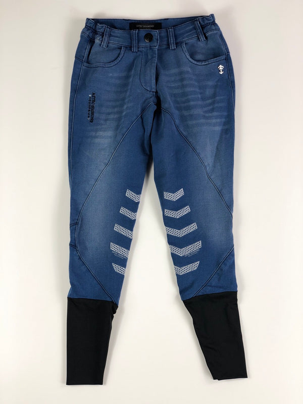 Aztec Diamond Denim Breeches in Blue Stone Wash - Women's UK 4/US 0