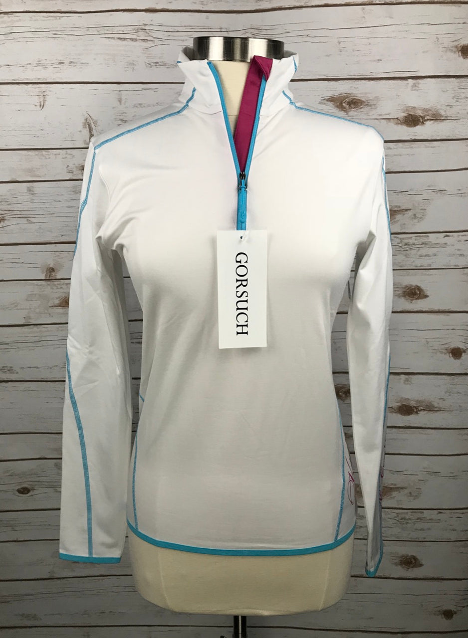 Kjus Targa Mid-Layer 1/2 Zip Shirt in White/Teal/Pink - Women's 40/Large