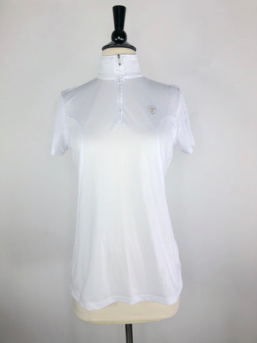 Ariat Sunstopper 1/4 Zip Polo in White- Front View