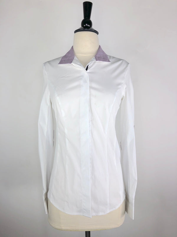 Noel Asmar Wellington Mesh Show Shirt in White/Purple - Women's XXS