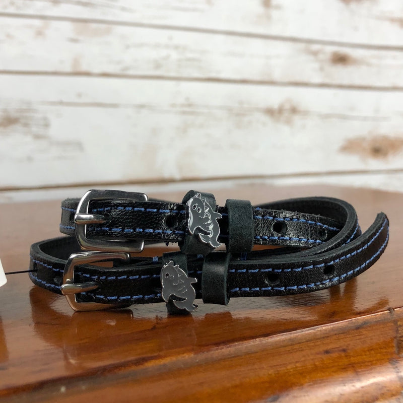 Mane Jane Spur Straps in Black/Slate Blue/Sharks - 18""