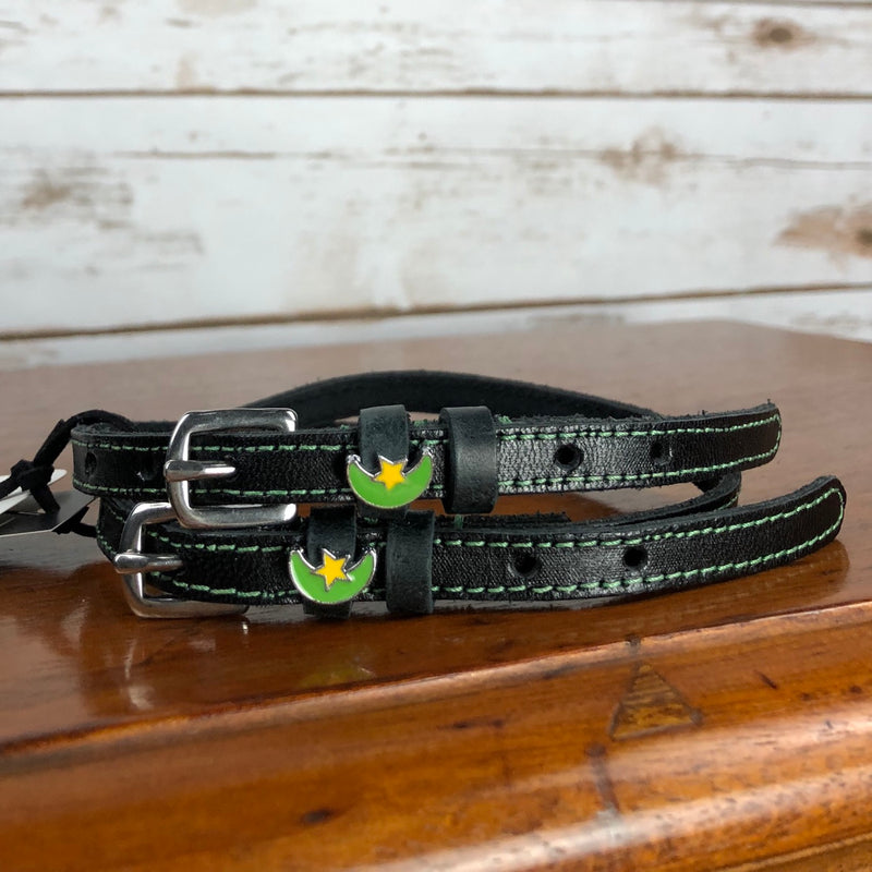 Mane Jane Spur Straps in Black/Green/Moon - 18""