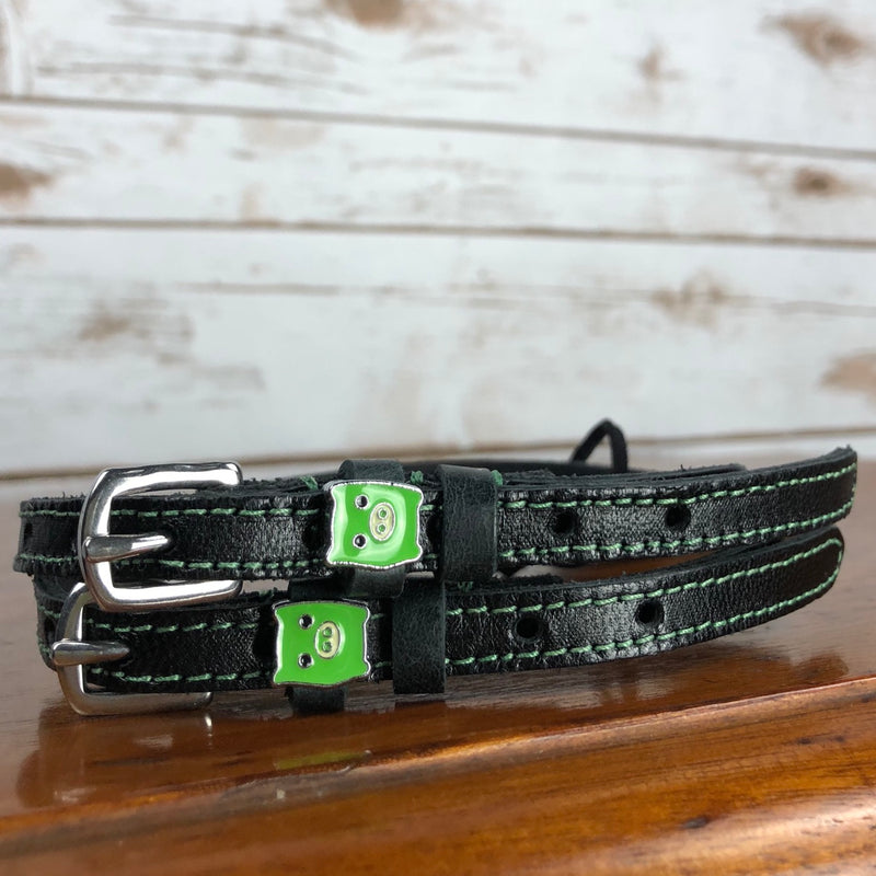 Mane Jane Spur Straps in Black/Green/Piggies - 18""