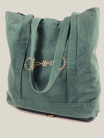 Spiced Equestrian Stowaway Tote in Hunter Green - One Size