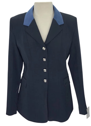 Front view of Ovation show coat with blue suede collar and silver buttons