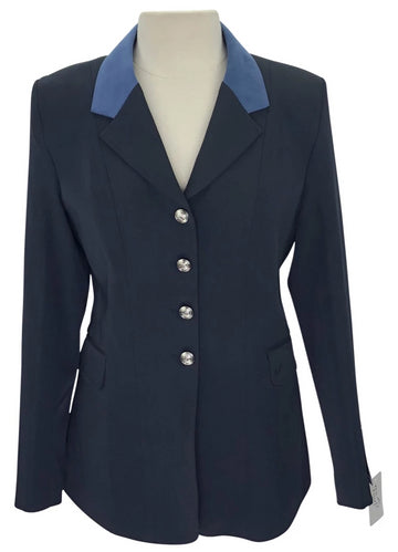 Ovation Performance Competition Coat in Navy with blue collar and silver buttons