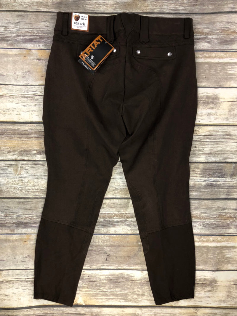 Ariat Heritage Fashion Quilted Knee Patch Breeches in Espresso - Women's 32R