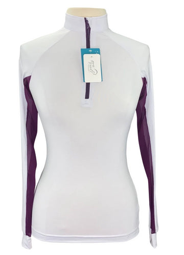 It's a Haggerty's Sun Shirt  in White with plum details