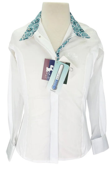 Equine Couture Kelsey Show Shirt in White with aqua patterned collar